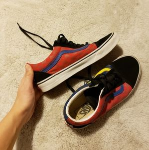 Blue and red old skool vans